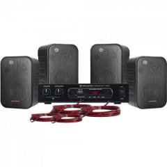 Kit Som Ambiente 400W Musical AMBIENCE 4000 Preto HAYONIK